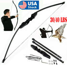 30/40lbs Archery Recurve Bow Takedown Hunting Longbow Training Target Practice