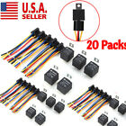 10 Pack 12V 30/40 Amp 5-Pin SPDT Automotive Relay With Wires+ Harness Socket Set