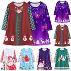 Kids Baby Girls Xmas Deer Long Sleeve Tunic Dress Christmas Party Clothes Jumper