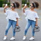 2PCs Toddler Baby Kid Girl Short Sleeve Solid Lace Tops Denim Pants Outfits Set