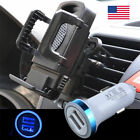 Car Air Vent Phone Mount Holder Stand Clamp &Dual USB LED Car Charging Charger