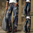 Women Fashion Printed Jeans Casual Long Pants Printed Wide-leg Pants Jeans