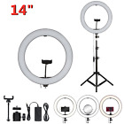 """6-14"""" LED Dimmable Ring Light Tripod Stand Phone Holder Youtube Makeup Live Lamp"""