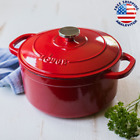 New Lodge Enameled Cast Iron Dutch Oven Kitchen Cooking Cookware 5.5 Quart Red