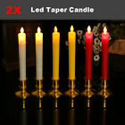 2x Luminara Flickering Moving Wick Flameless Led Taper Candle with Remote 3 Type