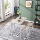 High Quality 5-Set Dining Set MDF Metal Table 4 Chairs Home Kitchen Restaurant