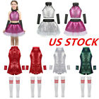 US Kids Girls Sequins Modern Jazz Costumes Outfits Stage Performance Dancewear