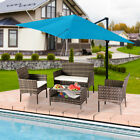 4pcs Outdoor Patio Rattan Wicker Sofa Sectional Furniture Set Cushioned Lawn