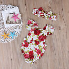 Newborn Baby Girls Clothes Flower Jumpsuit Romper Bodysuit + Headband Outfits