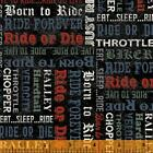 Born To Ride Fabric #52243-3 Motorcycle Words Quilt Shop Quality Cotton