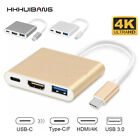Type C USB 3.1 to USB-C-4K HDMI USB 3.0 Adapter Cable 3 in 1 Hub For Macbook Pro