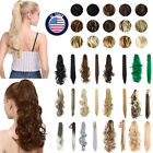 Long Straight/Curly Ponytail Synthetic Clip in Hair Extensions Claw Clip Womens