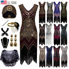1920s Gatsby Beaded Art Nouveau Embellished Fringe Flapper Party Evening Dress
