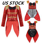 US Girl Ringmaster Circus Fancy Dress Costume Sequins Cosplay Performance Outfit