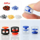 50Pcs Plastic Toggle 2 Holes Spring Loaded Rope Cord Locks Clip Ends Fastener