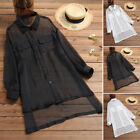 Women Summer Casual Sheer Mesh Tops Party Shirt Button Down Blouse Tee Cover Up