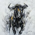 "Hand Painted Art ""Fearless Bull"" Oil Painting, Western cowboy Canvas Artwork"
