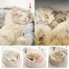 Pet Bed - Round Soft Plush Nest Cave Hooded Cat Bed for Dogs  Cats, Faux Fur