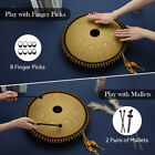 Ulalov Percussion Steel Tongue Drum 14 Note 14 Inch with Book Travel Bag Mallet;