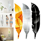 3d Diy Removable Feather Mirror Decal Vinyl Art Stickers Wall Decor Home/room