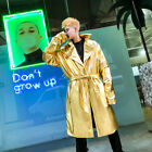 Mens Nightclub Faux Leather bright face windbreaker gold performance Coat Jacket