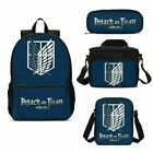 Attack on Titan Anime Boy Backpack Insulated Lunch Box Shoulder Bag Pen Case Lot