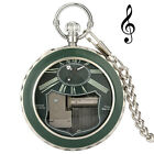 Vintage Quartz Pocket Watch Luminous Green Case with Music Luxury Casual Gifts