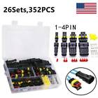 352PCS 26 Sets Car Wire Connector Plug 1-4 Pin Waterproof Electrical Plugs Kit