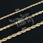 """Stainless Steel Rope Chain Gold 16""""-30"""" Men Women Necklace 2/3/4mm"""