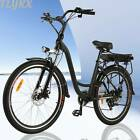7 Speed Gear Electric Bicycle Aluminum Frame Disc Brake 350W With Headlamp NEW
