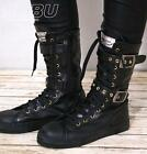 Unisex Punk Buckle Strap Faux Leather Calf Sneaker Boot