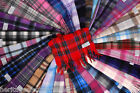 PURE Luxury 100% Cashmere Modern Check Tartan Scarf NEW