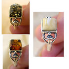 BALTIC WHITE, GREEN or HONEY AMBER STERLING SILVER SOLITAIRE RING VARIOUS SIZES