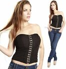 CELEB Corset Fitted Club wear Party Bustier Style Body Con Top Pin UP Black SEXY