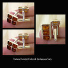 CUFF LINKS BALTIC HONEY, GREEN or MULTICOLOR AMBER & STERLING SILVER CUFFLINKS