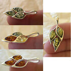 BALTIC MULTICOLOR, HONEY or GREEN AMBER & STERLING SILVER LEAF PENDANT