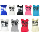E08 LADIES MTV MUSIC TELEVISION PRINT DESIGN VEST TOP T SHIRT 5 COLOURS 8-14 WOW