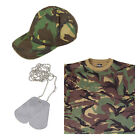 Kids Boys Girls Army Soldier Baseball Cap, Camo T-shirt and Silver Dog Tags