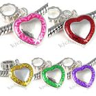 Heart Silver Dangle European Spacer Charm Bead For Bracelet Necklace