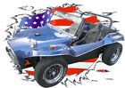 1960 Blue VW Dune Buggy Custom Hot Rod USAT T-Shirt 60, Muscel Car Tee's