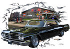 1963 Black Buick WildCat Custom Hot Rod Garage T-Shirt 63, Muscle Car Tee's