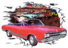 1965 Red Oldsmobile 442 Convertible Hot Rod Diner T-Shirt 65, Muscle Car Tee's