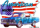 1966 Blue Plymouth BarraCuda Custom Hot Rod USA T-Shirt 66, Muscle Car Tee's