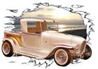1929 White Ala Kart Roadster Pickup Hot Rod Sun Set T-Shirt 29, Muscle Car Tee's