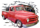 1955 Red Studebaker Pickup Truck Custom Hot Rod Garage T-Shirt 55, Muscle Car T