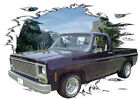 1973 Black Chevy Pickup Truck Custom Hot Rod Mountain T-Shirt 73, Muscle Car Tee