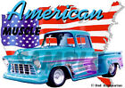 1956 Blue Chevy Pickup Truck Custom Hot Rod USA T-Shirt 56, Muscle Car Tee's