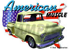 1956 Yellow Chevy Pickup Truck Custom Hot Rod USA T-Shirt 56, Muscle Car Tee's