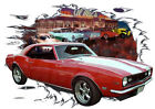 1968 Red Chevy Camaro Z28 a Custom Hot Rod Diner T-Shirt 68, Muscle Car Tee's