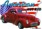 1941 Red Willys Coupe Custom Hot Rod USA T-Shirt 41, Muscle Car Tee's